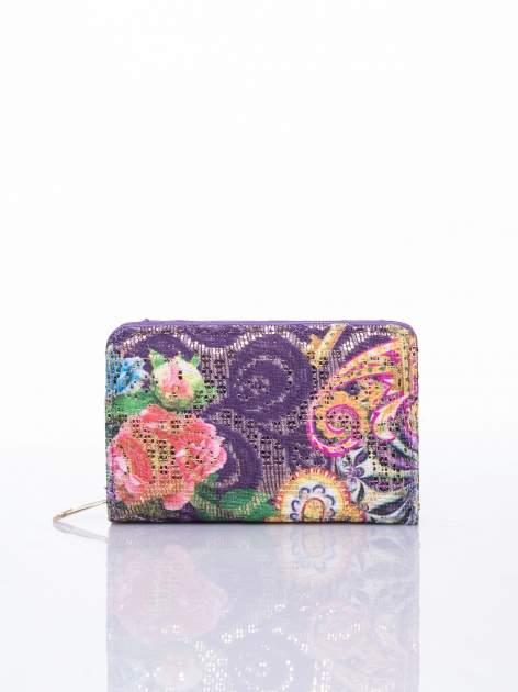 Fioletowy portfel z kwiatowymi motywami                                  zdj.                                  1