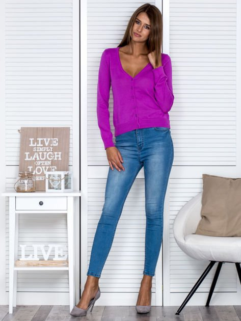 Fioletowy rozpinany sweter                                  zdj.                                  4