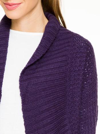 Fioletowy sweter narzutka z rękawem 3/4                                  zdj.                                  6