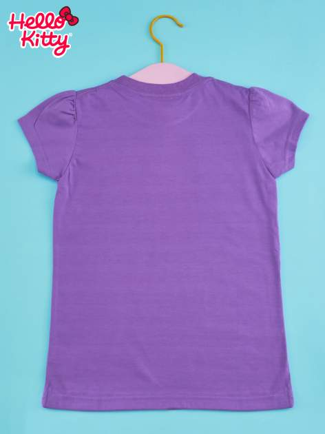 Fioletowy t-shirt dla dziewczynki HELLO KITTY z napisami                                  zdj.                                  2