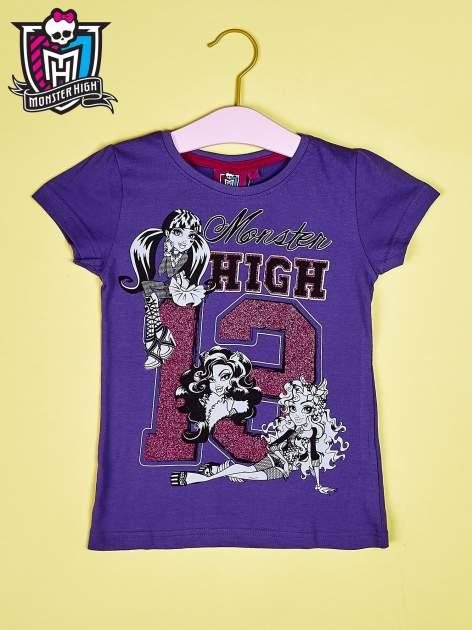 Fioletowy t-shirt dla dziewczynki MONSTER HIGH z brokatowym nadrukiem                                  zdj.                                  1