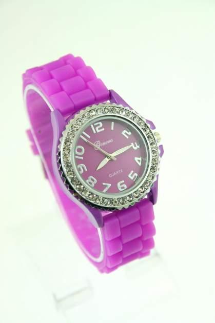 Fioletowy zegarek damski na silikonowym pasku                                  zdj.                                  1