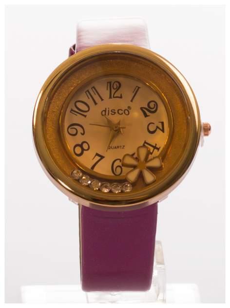 Fioletowy zegarek damski z cyrkoniami na skórzanym, lakierowanym pasku