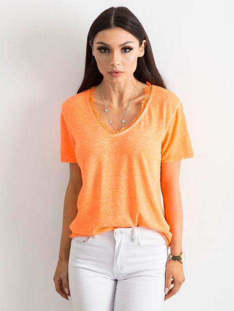 Fluo pomarańczowa bluzka z krótkim rękawem                              zdj.                              1