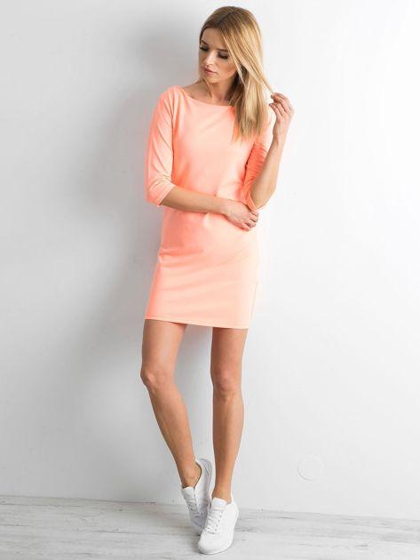 Fluo pomarańczowa sukienka z bawełny                              zdj.                              4