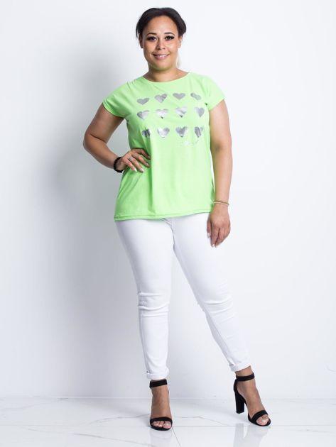 Fluo zielony t-shirt plus size Hearties                              zdj.                              4