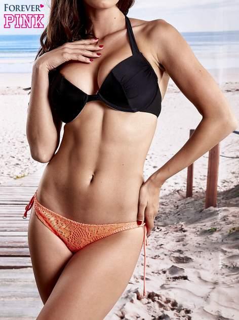Fluokoralowe koronkowe figi od bikini wiązane po bokach                              zdj.                              1