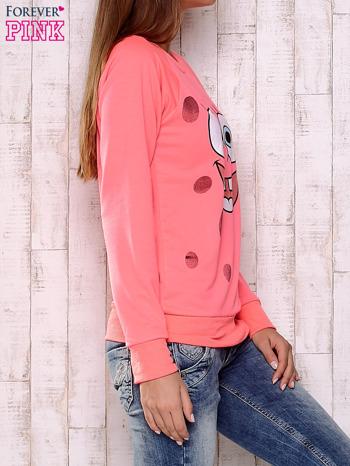 Fluoróżowa bluza z bajkowym nadrukiem                                  zdj.                                  3
