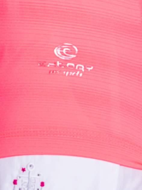 Fluoróżowy t-shirt sportowy w paseczki                                  zdj.                                  6