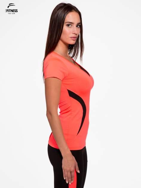 Fluoróżowy termoaktywny t-shirt sportowy z siateczką przy dekolcie ♦ Performance RUN                                  zdj.                                  3
