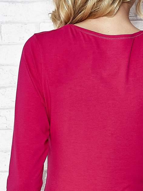 Fuksjowa bluzka sportowa z dekoltem V                                  zdj.                                  7