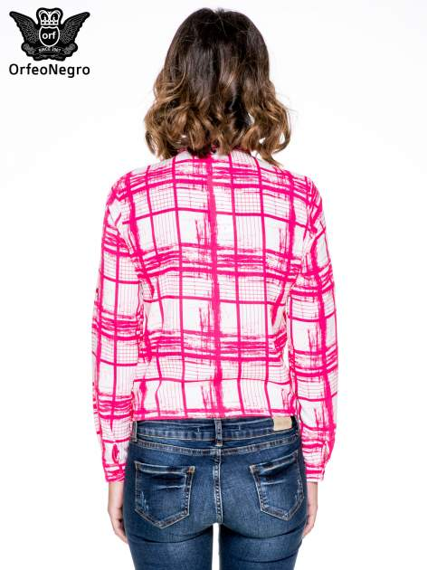 Fuksjowa koszula w kratę wiązana na dole                                  zdj.                                  4
