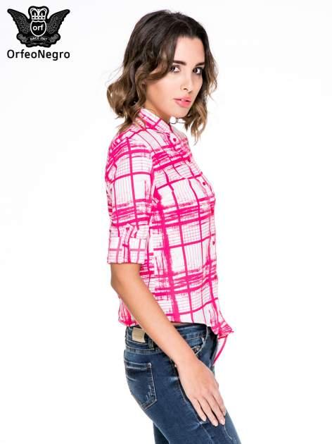 Fuksjowa koszula w kratę wiązana na dole                                  zdj.                                  5