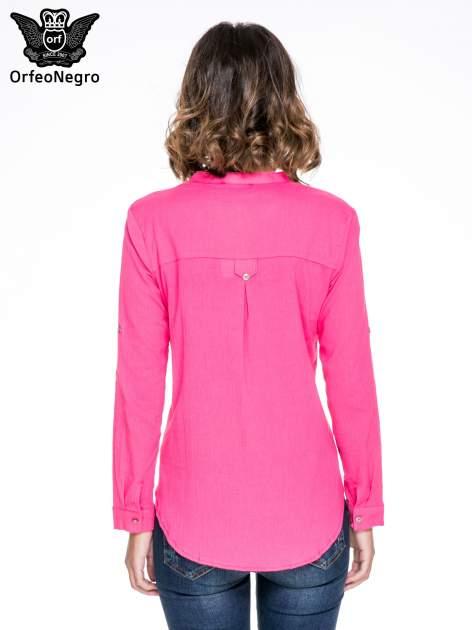 Fuksjowa koszula z ażurowaniem na górze i kieszonką                                  zdj.                                  4