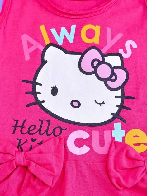 Fuksjowa sukienka dla dziewczynki z kokardkami HELLO KITTY                                  zdj.                                  4