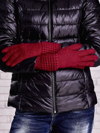 Fuksjowe długie rękawiczki z fantazyjnym ściągaczem                                  zdj.                                  2