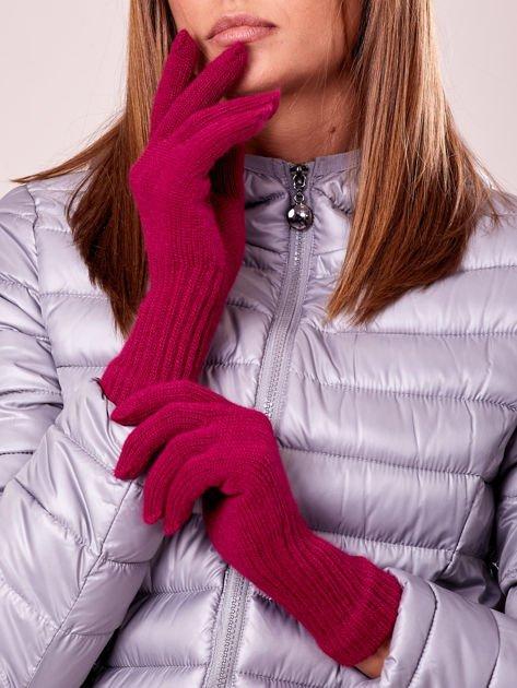 Fuksjowe rękawiczki z długim ściągaczem                                  zdj.                                  3