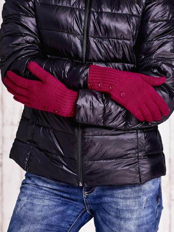 Fuksjowe rękawiczki z guzikami                                  zdj.                                  2