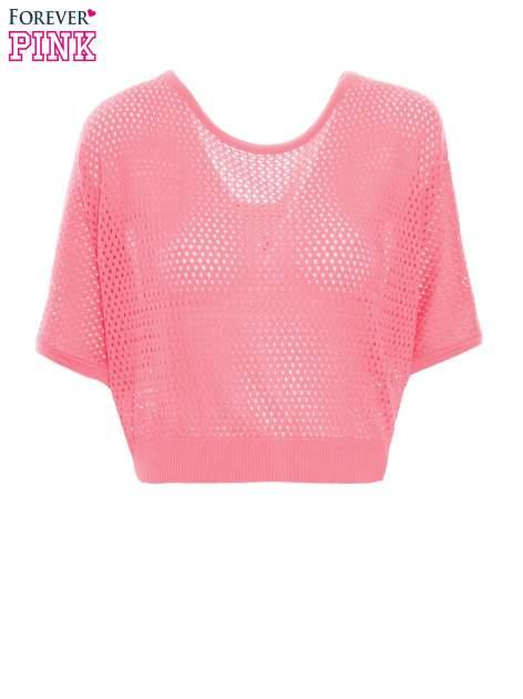 Fuksjowy siateczkowy sweter oversize                                  zdj.                                  2