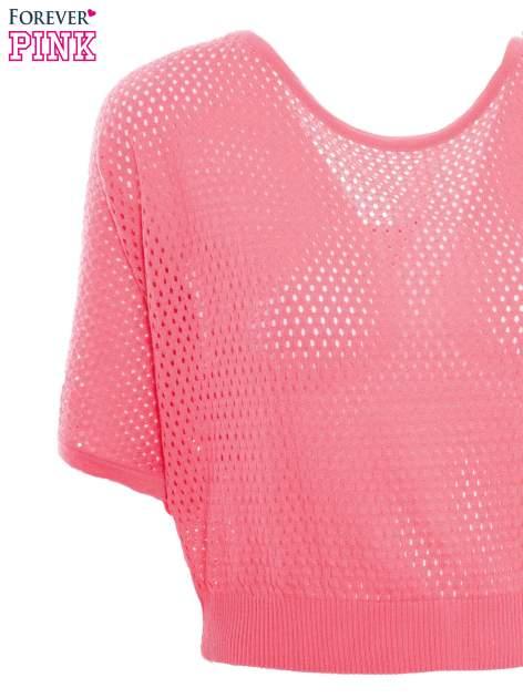 Fuksjowy siateczkowy sweter oversize                                  zdj.                                  6