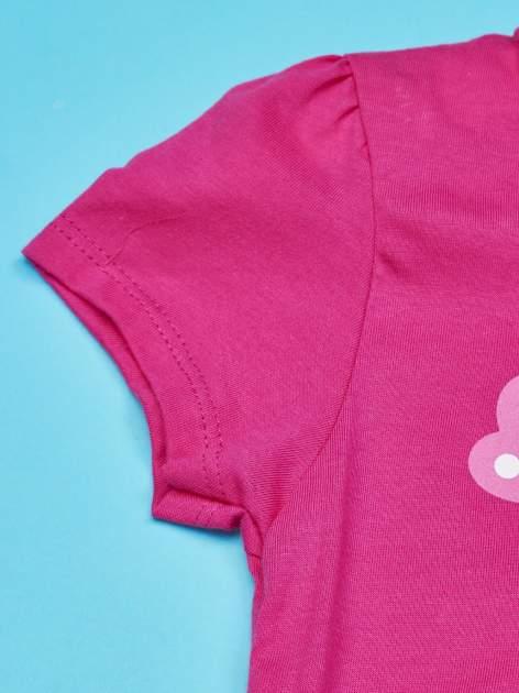 Fuksjowy t-shirt dla dziewczynki nadruk HELLO KITTY                                  zdj.                                  3