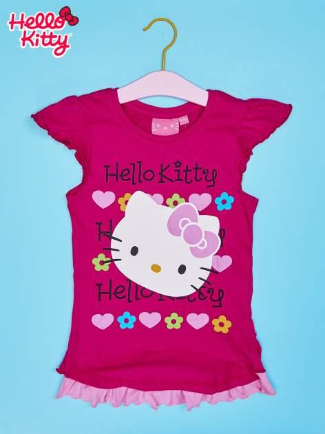 Fuksjowy t-shirt dla dziewczynki z falbankami HELLO KITTY                                  zdj.                                  1