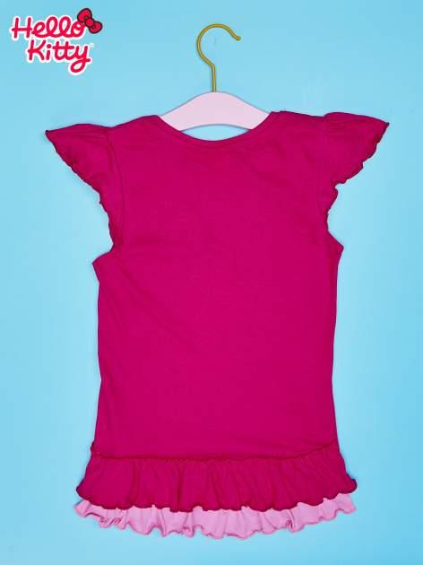 Fuksjowy t-shirt dla dziewczynki z falbankami HELLO KITTY                                  zdj.                                  2