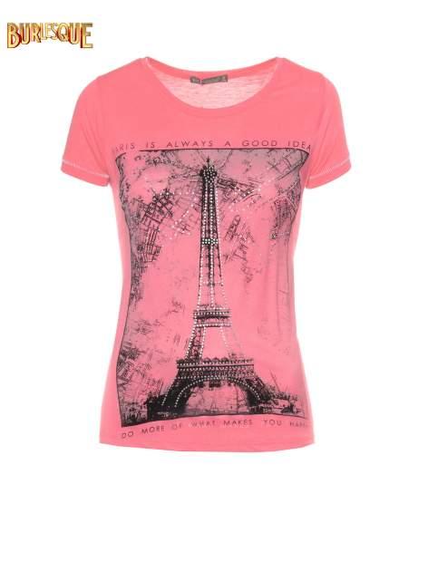 Fuksjowy t-shirt z nadrukiem wieży Eiffla