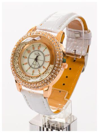 GENEVA Biały damski zegarek na pasku ze skóry lakierowanej                                  zdj.                                  3
