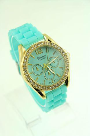 GENEVA Miętowy zegarek damski z cyrkoniami na silikonowym pasku