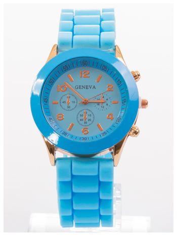 GENEVA Niebieski zegarek damski na silikonowym pasku                                  zdj.                                  1
