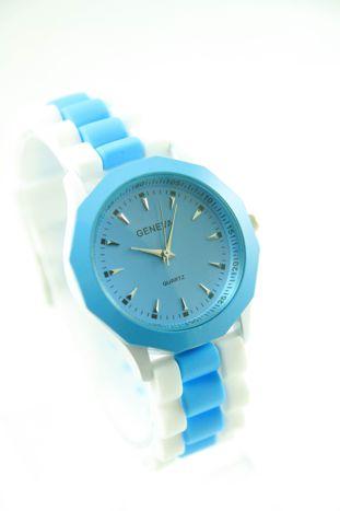 GENEVA Niebiesko-biały zegarek damski na silikonowym pasku