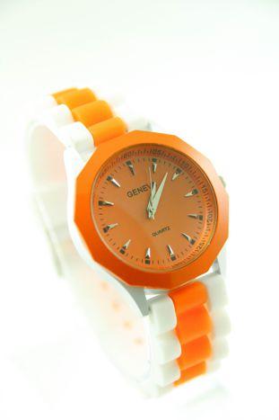 GENEVA Pomarańczowo-biały zegarek damski na silikonowym pasku