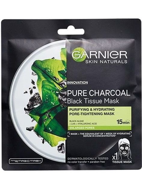 Garnier Skin Naturals Maska do twarzy na tkaninie Pure Charcoal Black Tissue - Czarna Alga  28 g
