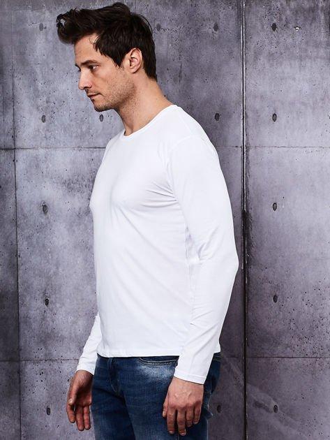 Gładka bluzka męska biała z długim rękawem                              zdj.                              4