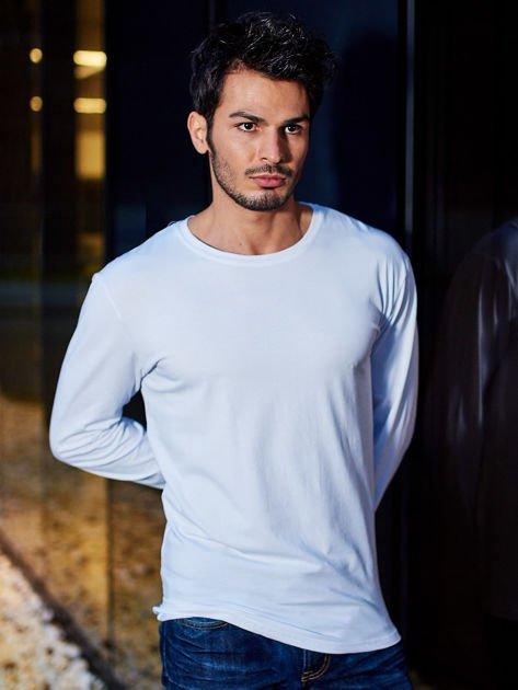 Gładka bluzka męska biała z długim rękawem                              zdj.                              1