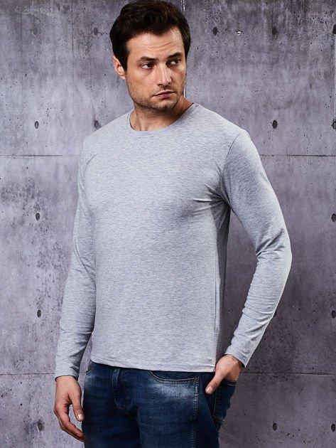 Gładka bluzka męska szara z długim rękawem                              zdj.                              5