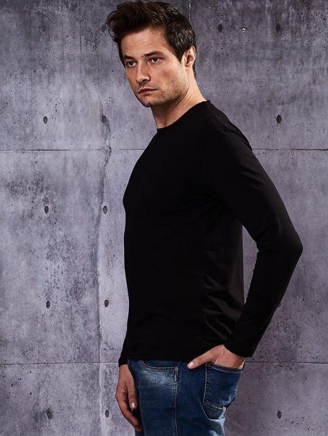Gładka czarna bluzka męska z długim rękawem                              zdj.                              5