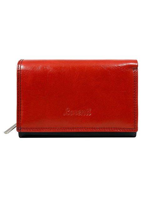 Gładki czerwono-czarny portfel damski ze skóry