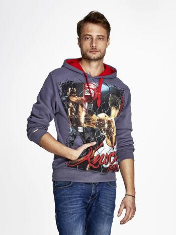 Grafitowa bluza męska z bokserskim nadrukiem                                  zdj.                                  1