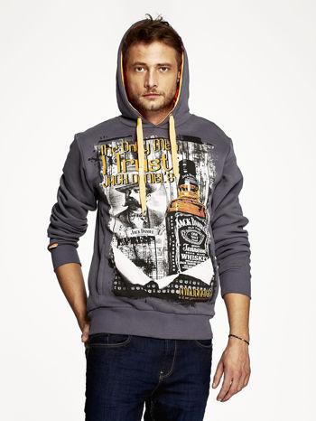 Grafitowa bluza męska z kapturem z motywem whiskey                                  zdj.                                  5