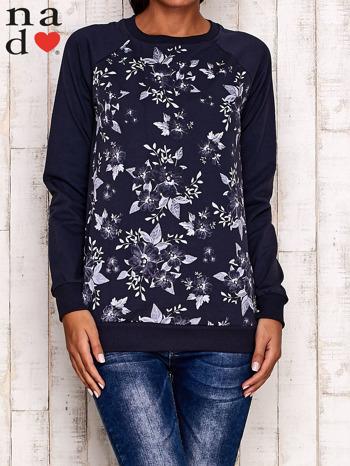 Grafitowa bluza z kwiatowym nadrukiem