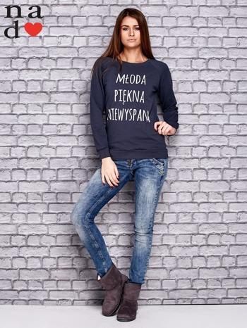 Grafitowa bluza z napisem MŁODA PIĘKNA NIEWYSPANA                                  zdj.                                  2
