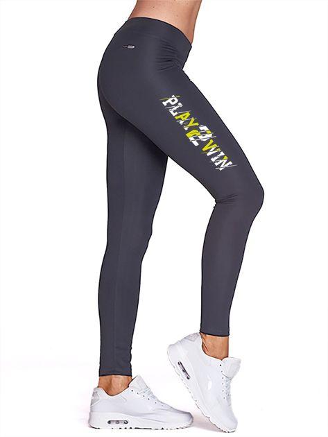 Grafitowe legginsy fitness z nadrukiem z boku                                  zdj.                                  1