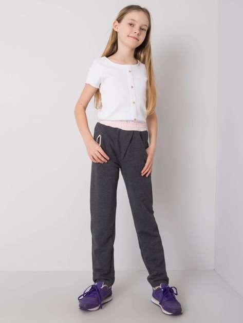 Grafitowe spodnie dresowe dla dziewczynki DODO KIDS