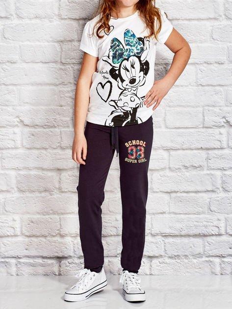 Grafitowe spodnie dresowe dla dziewczynki SUPER GIRL                                  zdj.                                  4