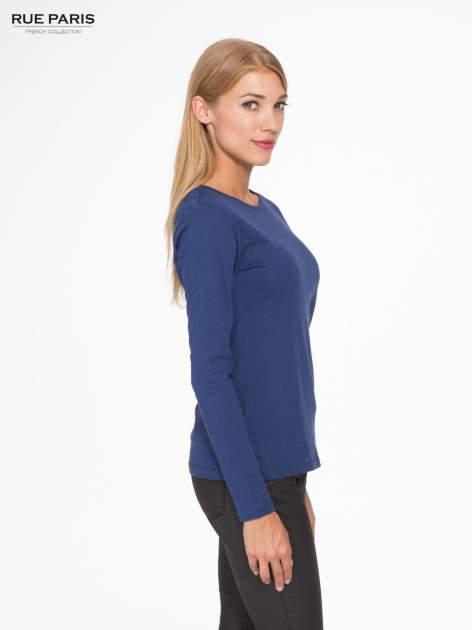 Granatowa basicowa bluzka z długim rękawem                                  zdj.                                  3