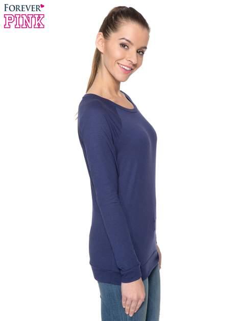 Granatowa bawełniana bluzka z rękawami typu reglan                                  zdj.                                  3