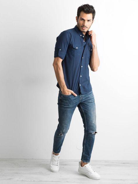 Granatowa bawełniana koszula męska                               zdj.                              4
