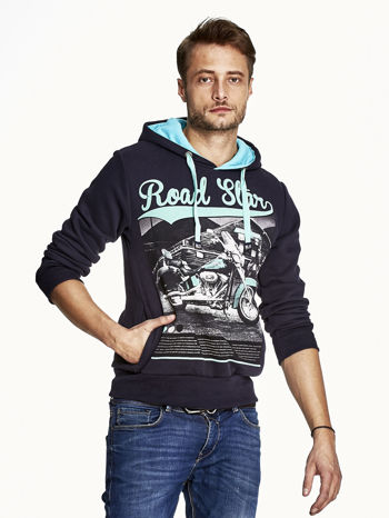 Granatowa bluza męska z nadrukiem i napisem ROAD STAR                                  zdj.                                  1